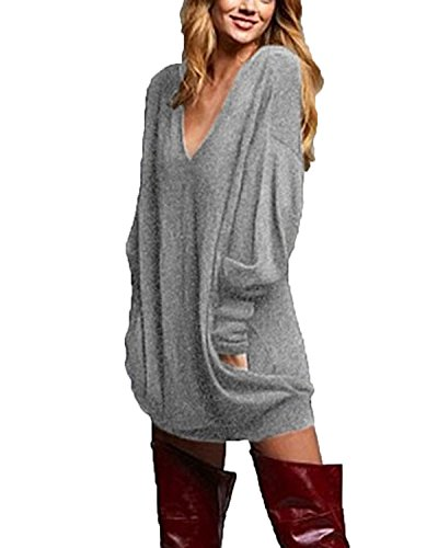 Women's Sexy Casual Loose Long Sleeve Jumper Baggy V-Neck Tops Blouse T-Shirt