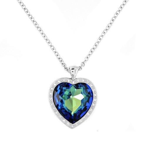 Cristalina Halskette mit großem Herz, Titanic Herz des Ozeans, Swarovski-Kristalle, 45cm + 5cm (Kostüm Men Mad Damen)