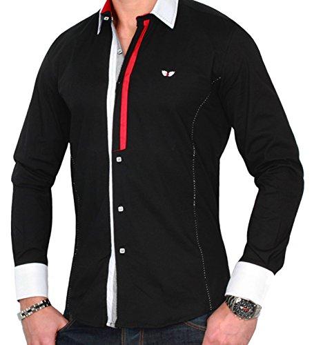 CARISMA Herren Hemd CRSM Shirt Freizeithemd Elasthan Partyhemd Slim Fit Schwarz Geschlossen
