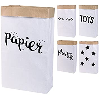 2er Pack Papiersack rund Paper Bag Kraftpapier Beutel