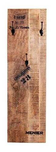 SIT-Möbel Rustic 1963-04 Wandgarderobe mit 3 schwarzen Haken, aus Mangoholz, Antik, braun, Wortprints, 35 x 3 x 110 cm