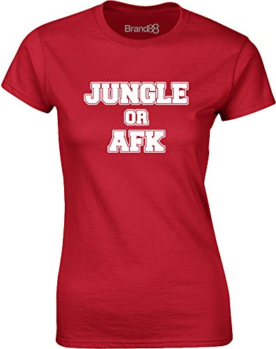 Jungle Or AFK, Frauen T-Shirt - Rote/Weiß L = 87-91cm -