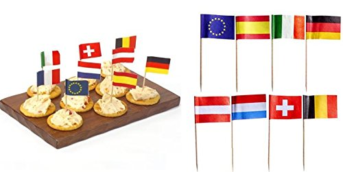 50 Flag Party Picks 8cm Europe EU Nations Cocktail Stick Buffet Catering Food Fruit BBQ Olives Sandwich Snacks Cup Cake by (Uk Halloween Picks Cupcake)