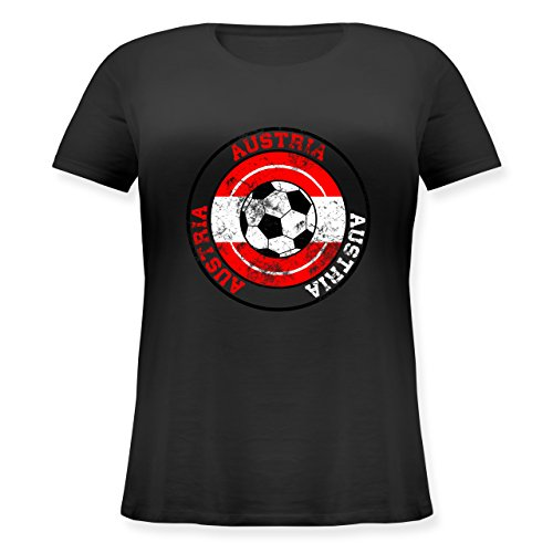 ... großen Größen mit Rundhalsausschnitt Schwarz. EM 2016 - Frankreich - Austria  Kreis & Fußball Vintage - Lockeres Damen-Shirt in