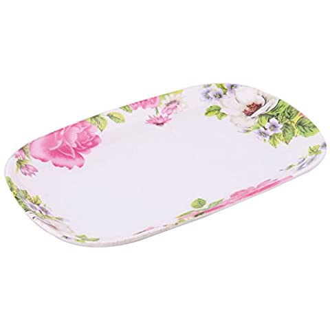 sourcingmap® Plastic Flower Print Party Kitchen Oval Shaped Food Fruit Dish Platter Plate Colorful