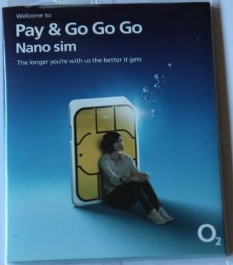O2 UK Pay As You Go sim card, new and sealed, can be used with any O2 tariff by O2