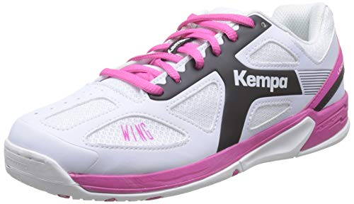 Kempa Unisex-Kinder Wing Junior Handballschuhe, Weiß (White/Black/Pink), 33 EU