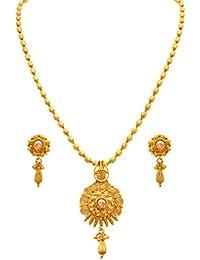 JFL - Traditional Ethnic One Gram Gold Plated Polki Diamond Designer Pendant Set For Women And Girls