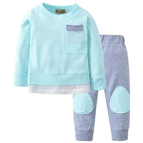 Neugeborenen T Shirt Tops Hose Kleidung Set 2PCS Outfits feiXIANG Herbst Baby Jungen Mädchen Herbst Winter Kinderkleidung (Blau,80) -