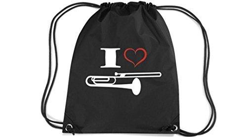 Shirtstown Premium Gymsac Musik I love Posaune Blassinstrument, black
