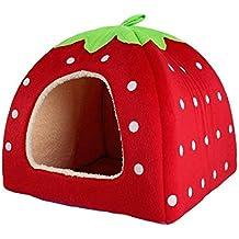 iTemer 1 Pieza Suministros para Mascotas Forma de Fresa pequeña Mascota Perrera casa de Dormir Mascota