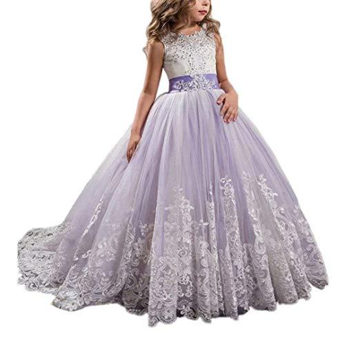 CDE Kinder Elegant Lang Spitzenkleid Tüllkleider mit Schleppe Mädchen Bestickt Prinzessin Kleider Ballkleider Cocktailkleid (Disney Fee Kostüm Muster)