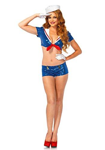 Leg Avenue 53206 - Pailletten Matrose Kostüm, Größe XS, (Kostüm Leg Avenue Seemann)