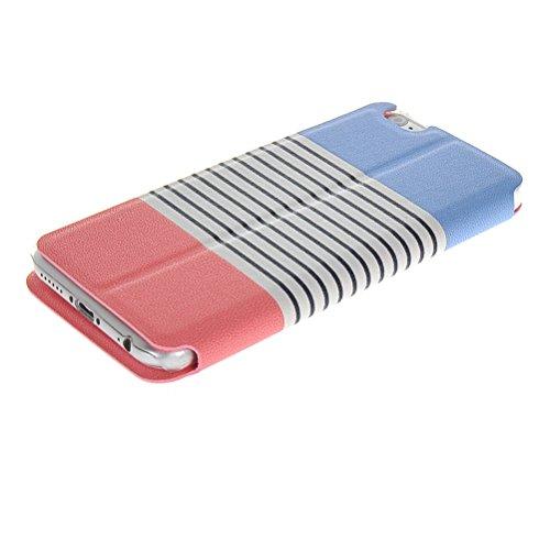 MOONCASE Coque en Cuir Portefeuille Housse de Protection Étui à rabat Case pour Apple iPhone 6 Plus Rose Rose