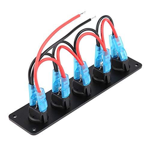 Akozon 5 Gang Wippschalter Panel, wasserdicht 12-24 V Dash Wippschalter Panel Blaue Wasserdicht LED Lichtleiste Schalter Panel LED für RV-Boot Yacht Marine