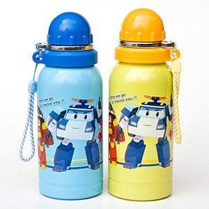 Robocar poli- Kids Mag 500 ml – Bleu et jaune 2 bouteille de voyage – Bouteille d'eau en acier inoxydable