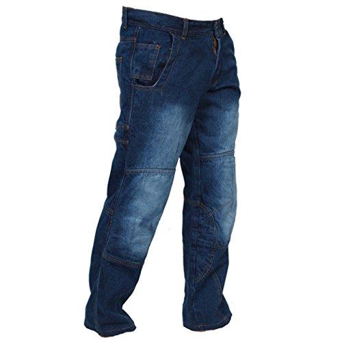 Juicy Trendz Herren Motorradrüstung Biker Motorrad Denim Hose Jeans Blau LNG W36 L30 (Jeans Arbeit Denim)