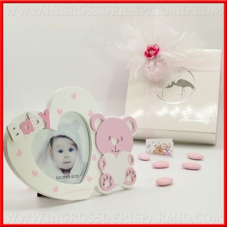 'Marco de fotos de madera blanco recubierto de lunares rosa, en la parte superior decorada de una texto 'Baby in quella inferior de un oso rosa Che Regga un corazón de femminuccia, caja reglao Incluye-Bomboniere nacimiento, bautismo, comunión