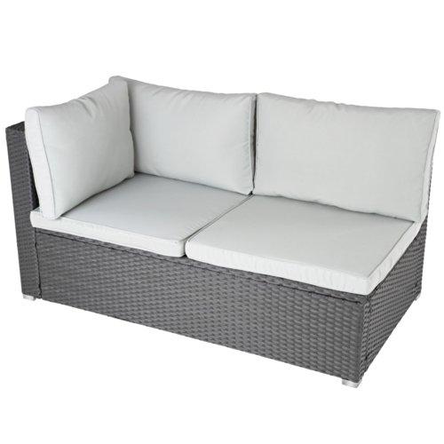 Ecksofa für bis zu 2 Personen aus Polyrattan Gartenmöbel inkl. Sitzkissen -Farbwahl- schwarz, grau oder braun - 2