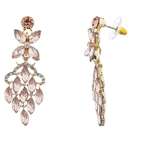 Lux Accessoires Doré Cristal Rose Strass Cascade Statement Boucles d