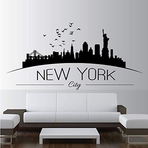 Shuyinju Wohnkultur Große Nyc New York City Skyline Wandtattoos Stadt Skyline Silhouette Wandaufkleber Home Schlafzimmer Dekoration 86 * 42 Cm (New Party-stadt City York)