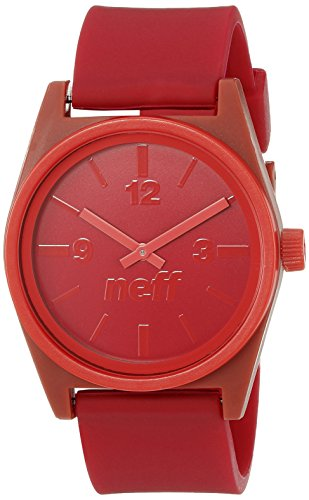 One Size , Maroon/Red : Neff Unisex NF0217BKRD Duo Analog Display Japanese Quartz Black Watch