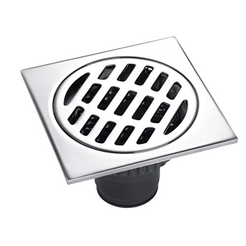 GXJ 4X 4inch Square Shower Floor Drain mit abnehmbarem für Bad und Küche, Der Hauptkörper besteht aus Kupfer mit gebürstetem Finish, Haar Sieb 4in Square Platte