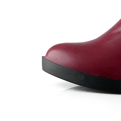 VogueZone009 Femme Tire à Talon Bas Pu Cuir Couleur Unie Haut Élevé Bottes Rouge Vineux