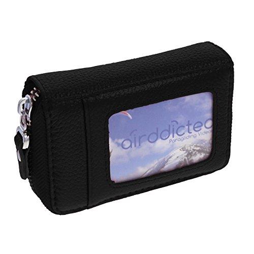 Smartfox Kartenetui Kreditkartenetui Geldbeutel Portemonnaie Portmonee Portmonai Geldbörse Brieftasche aus Kunstleder in Schwarz