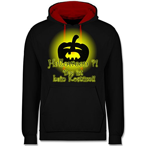 Halloween - Kein Halloweenkostüm - Kontrast Hoodie Schwarz/Rot