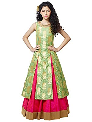 White Button Girl's Pista Green jequard Silk N Rani Silk lehenga Indo Western Style ReadyMade Wedding Wear Lehenga Choli Dress For Kids