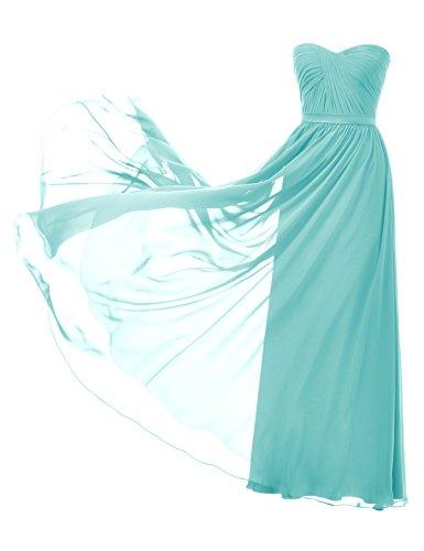 Remedios lungo chiffon damigella d' onore abito da sposa Una linea partito abito da sera (Lace Up Bandeau)