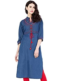 PINKY PARI STYLISH BLUE DENIM JACKET STYLE EMBROIDERED STRAIGHT FIT KURTI