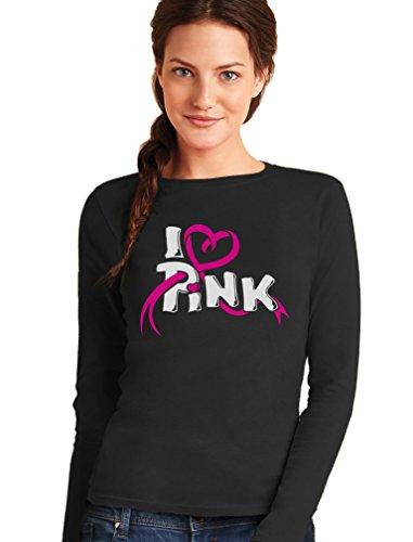I love Pink - Symbol im Kampf gegen Brustkrebs Frauen Langarm-T-Shirt Small Schwarz (Brustkrebs Frauen T-shirt)