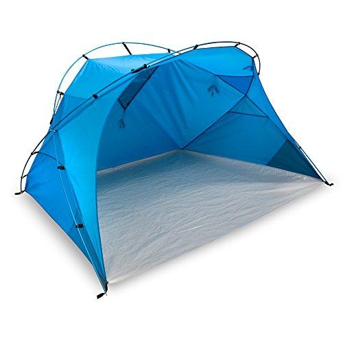 outdoorer XXL Strandmuschel Santorin Alu Air Design, UV 80 Sonnenschutz, blau, groß, Fenster für Belüftung, kleines Packmaß für Reisen, leicht Dank Alugestänge