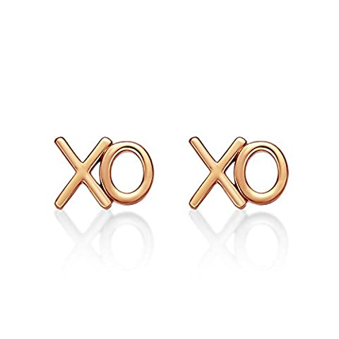 Rose Gold XO Earrings in Gold Plated Polished Sterling Silver.