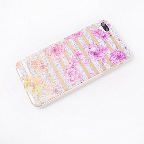 Custodia iPhone 7 Plus, iPhone 7 Plus Cover Silicone, SainCat Custodia in Morbida TPU Protettiva Cover per iPhone 7 Plus,Creative Design Transparent Silicone Case Ultra Slim Sottile Morbida Transparen colore del fiore