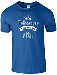 Princesses Are Born In April Des gamins Tshirt Anniversaire