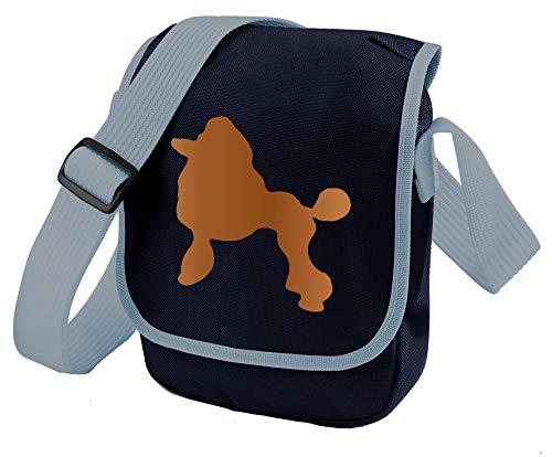 Poodle Dog Bag Reporter Bag Umhängetasche Pudel Silhouette Geschenk Farbwahl, Blau - Apricot Dog Blue Bag - Größe: Small/Medium -