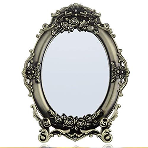 Beleuchtung Reiner Diamant (QXHELI Spiegel - 3D Reliefkarte Harz dekorative Spiegel Beauty Make-up-Spiegel Make-up-Spiegel Single-Side Oval kosmetische High-Definition tragbaren Spiegel zu Fuß Stand begrüßen)