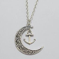 Luna–Anclaje simple collar, la luna colgante en forma de ancla mejor regalo para amante Lariat collar de uso diario, regalos, luna de plata Anchor Gorgeous Collar mejor amigo regalo elegante luna de plata Anchor