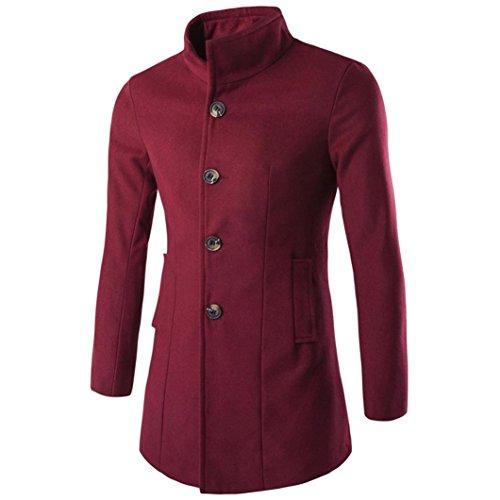 Jacke Herren Sunday Winter Mens Fashion Solide Trenchcoat Warme Verdicken Outdoor Peacoat Langen Mantel (Weinrot, 3XL) (Solide Verdicken Baumwolle)