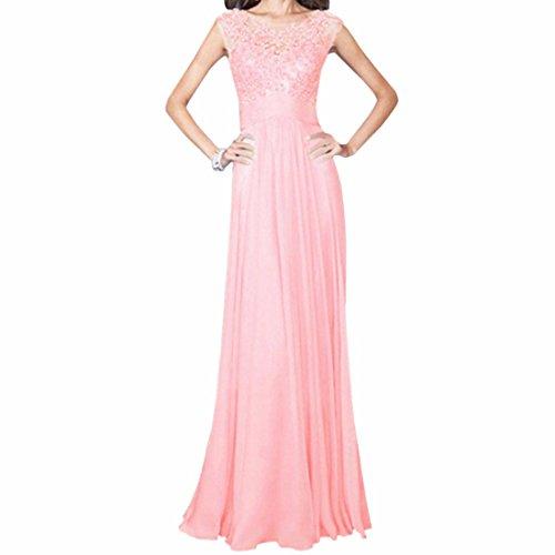 Sexy sans manches col rond robes Slim femmes de soiree de mariage en mousseline de soie robe longue Rose