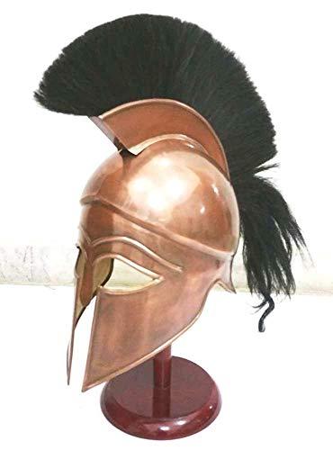 Medieval griego espartano Corinthian casco con penacho de color negro armadura casco