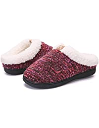 a9d285a1989d Slippers for Women Men Cozy Memory Foam Plush Fleece House Shoes Furry  Wool-Like w