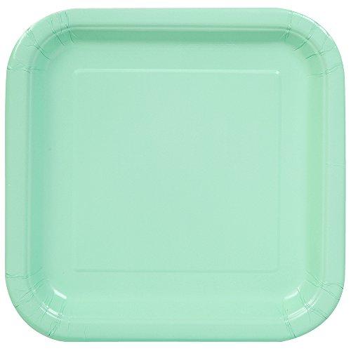 Unique Party - Platos Cuadrados de Papel - 23 cm - Verde Menta - Paquete de 14...