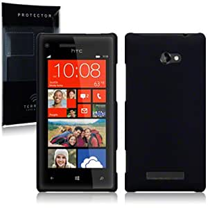 HTC 8X Windows Phone Hybrid Rubberised Back Cover / Case / Shell / Shield - Solid Black