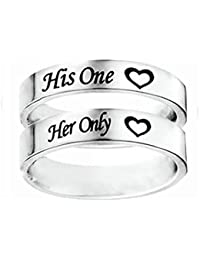 Epinki 6MM Bague Couple, Acier inoxydable His One et Her Only Mariage Anniversaire Bague Taille 49-66.5