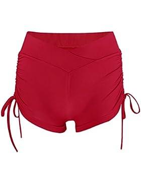 LINNUO Donne Pantaloncini Di Alta Vita Pantaloncini Corti Con Elastico Pantaloncini Da Corsa Yoga Cintura Hot...