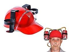 Idea Regalo - Cappello elmetto porta bibite lattine birra con visiera party idea regalo ROSSO A32